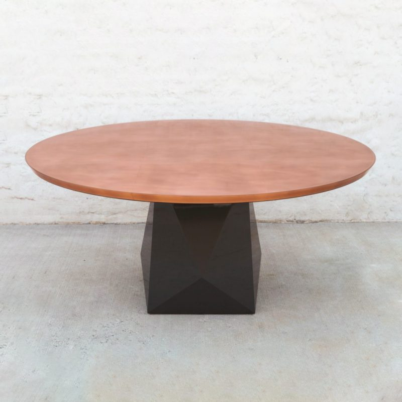 Custom Copper + Resin Faceted Pedestal Dining Table